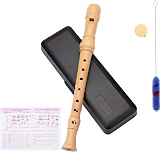 Suwimut Wood Soprano Recorder Set, 8 Hole C Key 3 Piece Instrument with Fingering Chart, Cleaning Rod, Joint Grease and Ha...