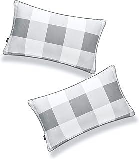 "Hofdeco Coastal Patio Indoor Outdoor Lumbar Pillow Cover ONLY for Backyard, Couch, Sofa, Baby Blue Buffalo Check, 12""x20"",..."