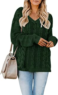 Yskkt Womens Pullover Sweaters Plus Size Cable Knit V Neck Lace Up Long Sleeve Fall Jumper Tops (XXXX-Large, ZArmy Green)