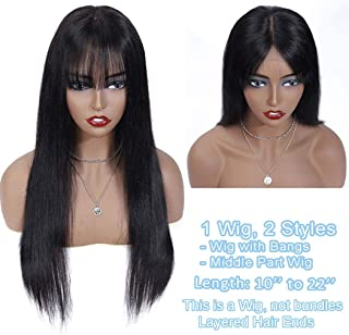 Lanyi Human Hair Wig with Air Bangs 18 inch Black Straight Weave Lace Closure Wig Brazilian Virgin Hair Wig Remy Hair Wig