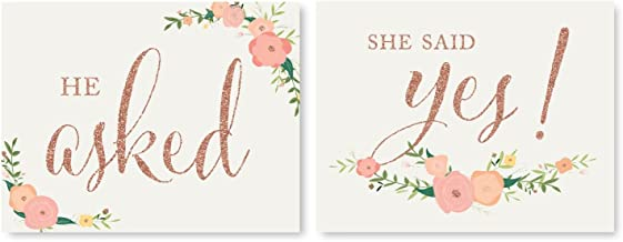 Andaz Press Wedding Party Signs, Faux Rose Gold Glitter with Florals, 8.5x11-inch, He Asked, She Said Yes! Engagement Save the Date Photoshoot Signs, 2-Pack, Colored Decorations