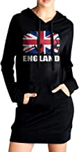SWEA-QYD78 England African Flag Football Rugby Women's Long Sleeve Outfitter Sweatshirt with Pocket Hoodies Dress