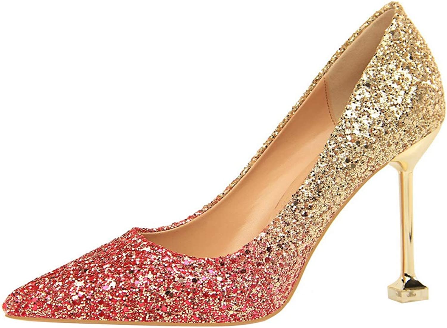 Drew Toby Women Pumps Sequin Fashion Party Pointed Mixed colors Office Shallow High Heels