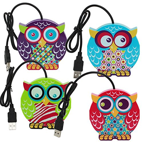 USB Hub 4 Ports Owls Assorted Colors (Sold per Item)