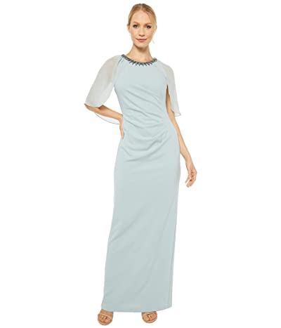 Adrianna Papell Chiffon Capelet and Crepe Gown (Frosted Sage) Women