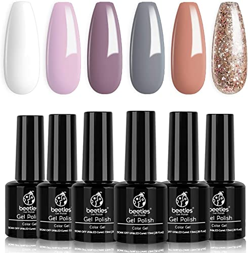 popular Beetles Gel Nail Polish Set, Weekend Getaway Collection Soft Pink Purple Nude Gel wholesale Polish Golden Glitter Coral Gel Nail Lacquer Kit Bridal French Nail wholesale Art Manicure Kit, 7.3ml Each Bottle outlet online sale
