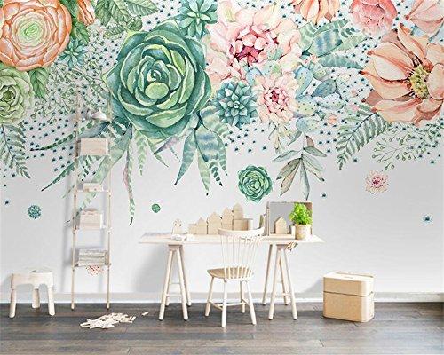 BHXIAOBAOZI behang fotobehang 3D custom fotobehang Botanische landschap groene planten en vlezige wooncultuur voor woonkamer sofa Tv achtergrond slaapkamer muur decoratie (Bh0562) 400cm(W)×250cm(H)