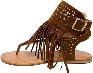 Corriee Womens Beaded Studded Fringe Flat Gladiator Sandals Girls Summer Flip Flops Beach Shoes