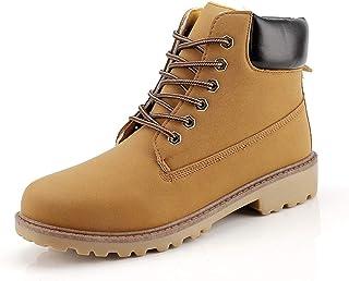 Bottines Bottines pour Hommes Faux Cuir High Top Chaussures à Lacets Fermeture Métal Métal Métal Bloceau Collier Solide Gl...