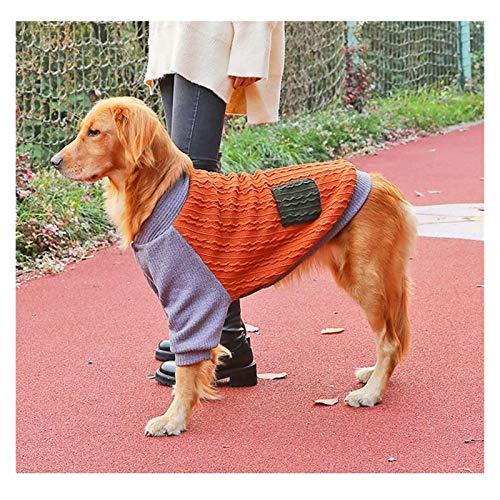 Disfraz de Terciopelo Ropa for Perros de Tejer Plus Golden Retriever Husky Shiba Inu Mediana Grande Perro suéter de otoño e Invierno Ropa Caliente (tamaño : Blue-3XL(9-13kg))