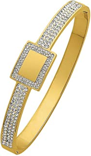 Bevilles Yellow Stainless Steel Pave Crystal Bangle with Square Feature