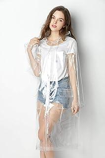 A.G.S. AGS impermeable transparente para mujer moda EVA impermeable Poncho de lluvia reutilizable con capucha con cordón, ...