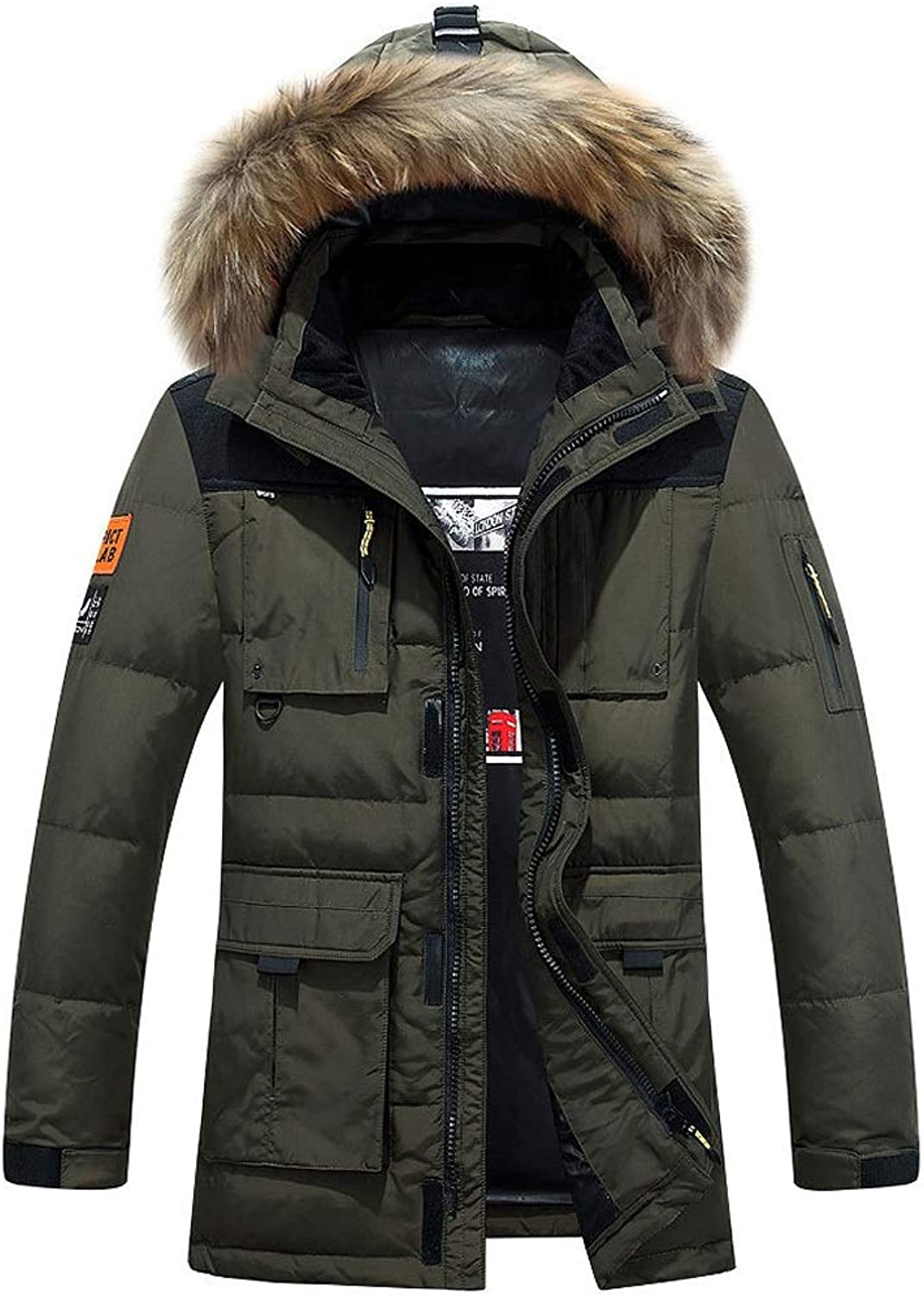 New Down Jacket, Men's Casual Short Hooded Jacket with Large Fur Collar, Winter Outdoor Cold Warm Clothing (color   Green, Size   M)