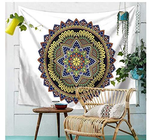 DJSK Tapisserie de Fleur de Tapisserie de Mandala de Fleur de tenture de Plage de Tapis de Tapis Indien coloré Polyester Drap de Table de Tapisserie de Mur de Mandala 150 * 200CM