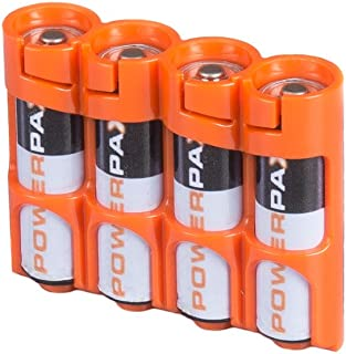 PowerPax Storacell Slim Line AA Battery Caddy, Orange - Holds 4 AA Batteries