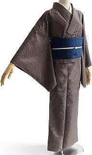 [でぃあじゃぱん] 着物 市松 グレー モノトーン シンプル シック 袷 洗える着物 仕立て上がり カジュアル レディース ポリエステル