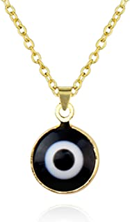 Boho Colorful Adjustable Evil Eye Round Gold Chain Link Resin Necklace Choker Collar Party Jewelry for Women Girls Gifts D...