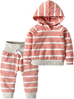 Toddler Infant Baby Boys Girls Stripe Long Sleeve Hoodie Tops Sweatsuit Pants Outfit Set
