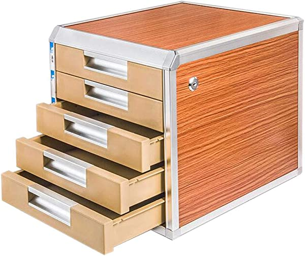 File Cabinets Wood Board Desktop Aluminum Alloy Multi Layer Drawer Type Lock Storage Information Office 31 5cm35cm29 8cm MUMUJIN