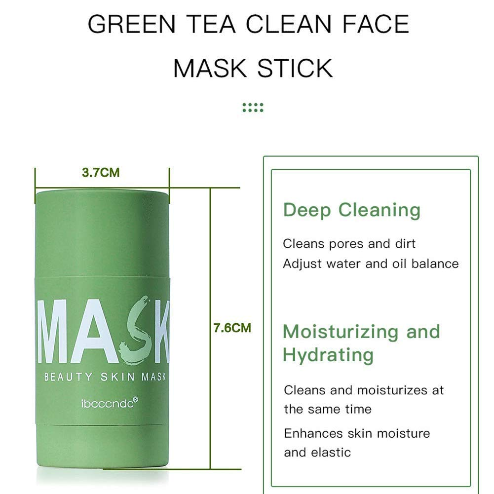 Green Tea Purifying Clay Face Mask, Face Moisturizes Oil Control Blackhead Remover Deep Clean Pore Purifying Clay Stick Deep Cleansing Mask, for All Skin Men Women
