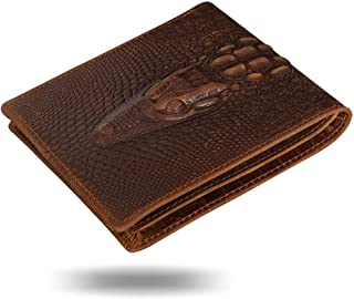 HRS Genuine Crocodiile Alligator Ultra Slim Bifold Front Pocket Leather Wallets for Men with Card Holders Personalities