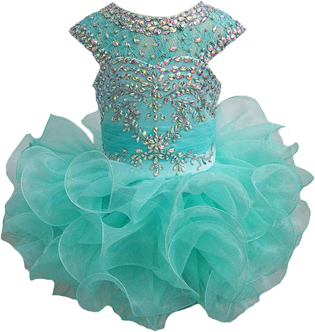 Junguan Little Girls Lace Pageant Cupcake Dresses for Toddler Formal Party Tutu Ball Gowns Mini066