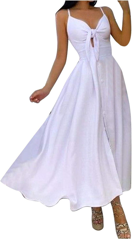 KAIXLIONLY Women's Summer Floral Spaghetti Strap Long Maxi Dress