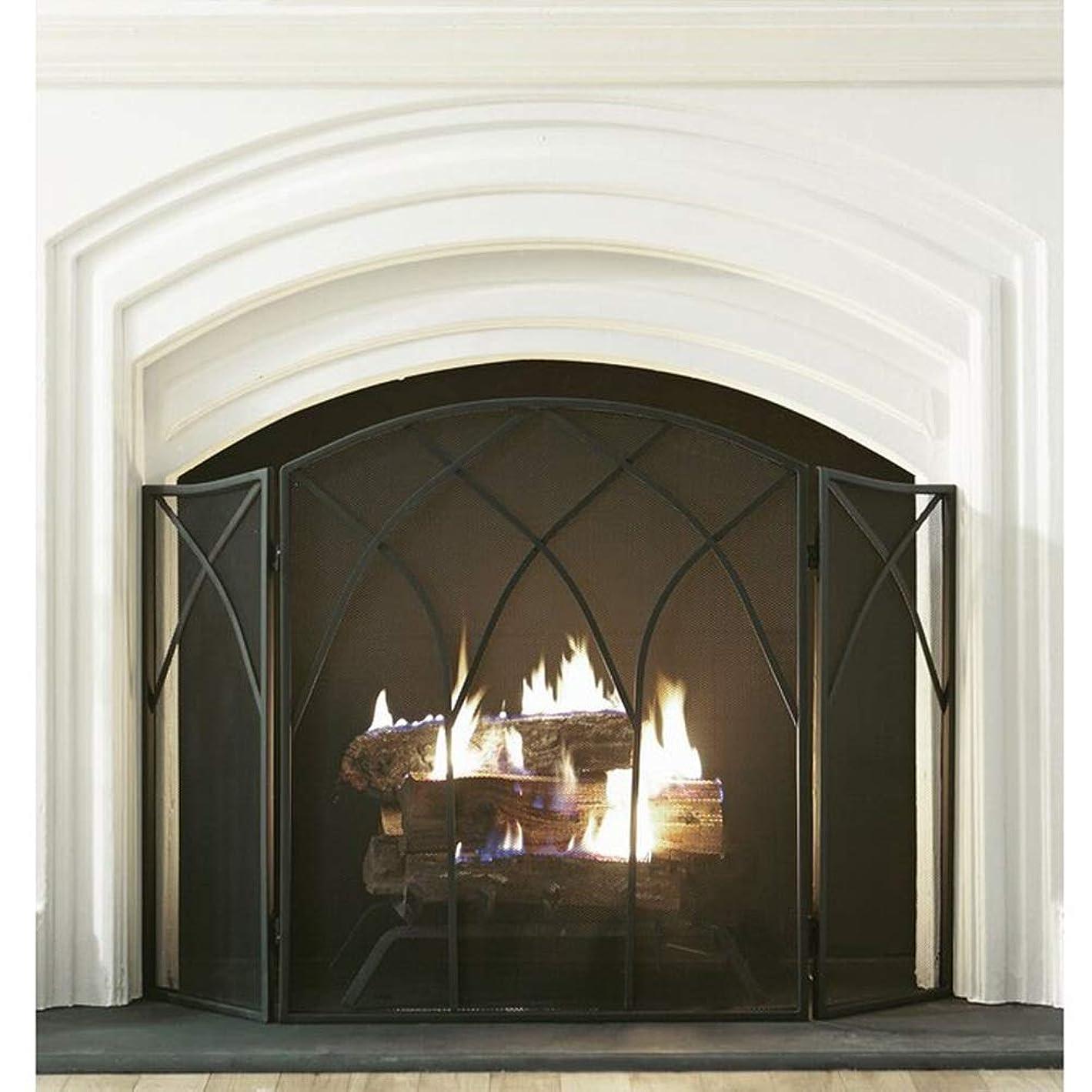 求人群集権限を与える暖炉 スクリーン シンプルな暖炉ガードレール3パネル折りたたみ- 錬鉄スクリーン 子供とペットの安全のための金属メッシュ付きのリビングルームの装飾、 幅128x高さ80cm (Color : Black)