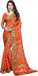Indian orange Bandhej Art Silk Zari weaving Festival Bandhani Printed Saree Blouse Sari 6316