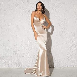 Deep V Neckline Sling Dress Floor Length Halter