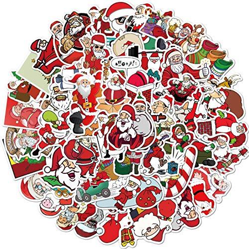 HNCZ 50Decoraciones Navideñas, Pegatinas Impermeables para Portátil con Maleta Doodle De Santa Claus