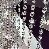 10 Pezzi 1m Perline Cristallo Catena Perle di Cristallo di Octagon Borda per Lampadario,Tende,Decorazioni Matrimonio,Bracciali e Gioielli Creazione