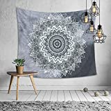OATHENE Bless Indian Hippie Bohemian Psychedelic Peacock Mandala Tapestry Wall Hanging,Black and White,Grey,Orange,Colorful, Polyester, 60L x 51 W Inches (150cm x 130cm),Grey