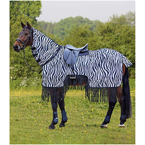 Fliegenausreitdecke Zebra mit Fransen, schwarz/weiß, 155 cm