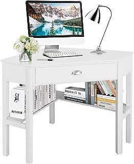 Tangkula Corner Desk, Corner Computer Desk, Wood Compact Home Office Desk, Laptop PC..