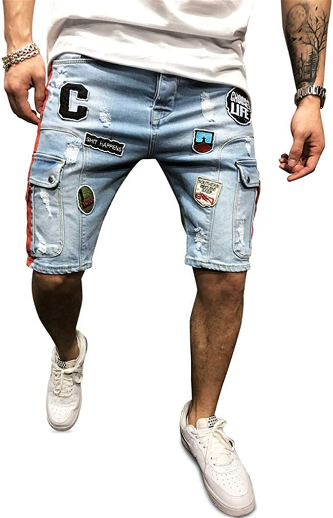 Forthery Mens Destroyed Ripped Holes Denim Shorts Letter Printed Slim Fit Jeans Pant with Stripe
