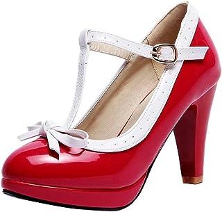12dccac74af6 Kittcatt Chaussure Escarpins Femme Mary Jane Rockabilly Vernie Brillant  Talon Aiguille Haut Plateforme Lanière en T
