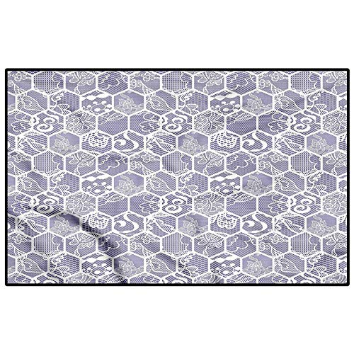 Mauve and White Christmas Bathroom Rugs Patio Rugs Lace Design Hexagon for Entryway Porch Bedroom Living Room Laundry Kitchen Kids 4.5 x 5.2 Ft