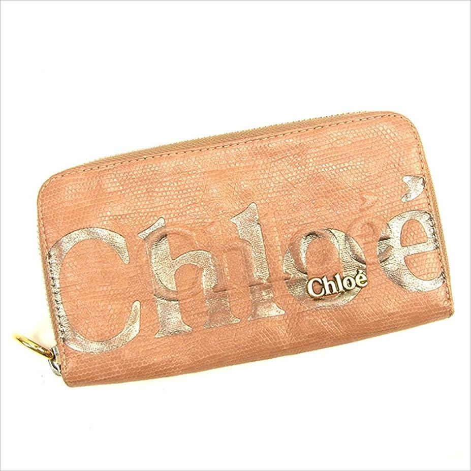 偽造文明変える(クロエ) Chloé 長財布 ラウンドファスナー ピンク×ゴールド エクリプスライン レディース 中古 T712