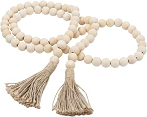 Wood Bead Garland, White Natural Farmhouse Beads with Tassels, Boho Prayer String Beads for Rustic Home Decor