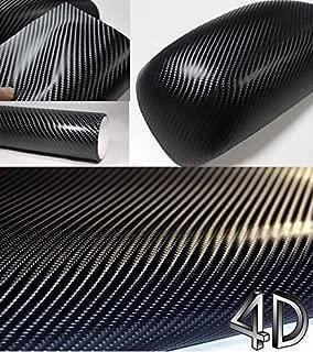 4D Black Carbon Fiber Vinyl Wrap Sticker Air Realease Bubble Free anti-wrinkle 96