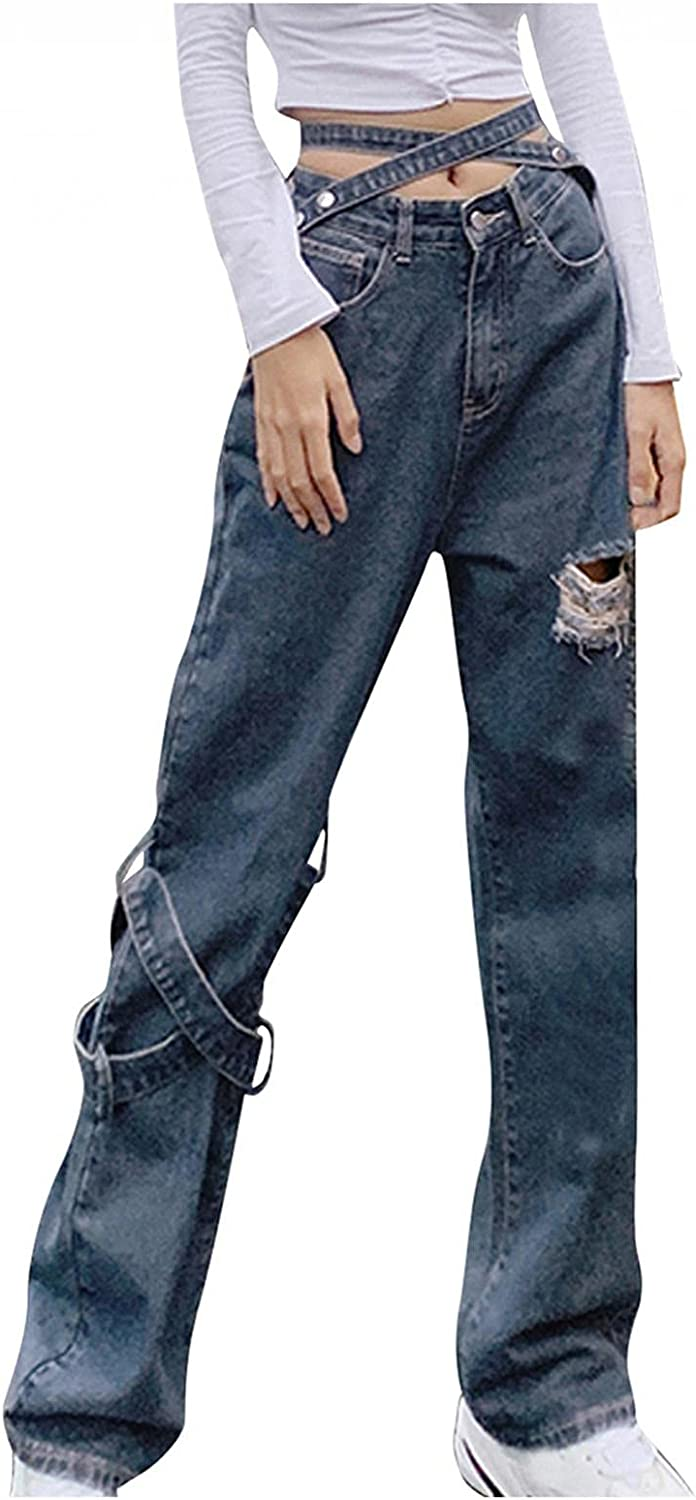 Bosanter Y2K Fashion Jeans for Women High Waisted Straight Fit Denim Jeans Teen Girls Wide Leg Streetwear Jeans with Hole