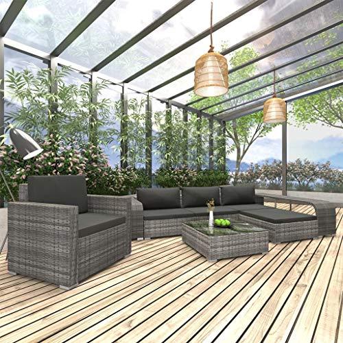 UnfadeMemory Garten-Lounge-Set mit Sitzkissen und Rückenkissen Poly Rattan Gartensofa Sitzgruppe Polyrattan Gartenmöbel Set Gartensofagarnitur (8-TLG. Set Grau/Dunkelgrau -Typ B)