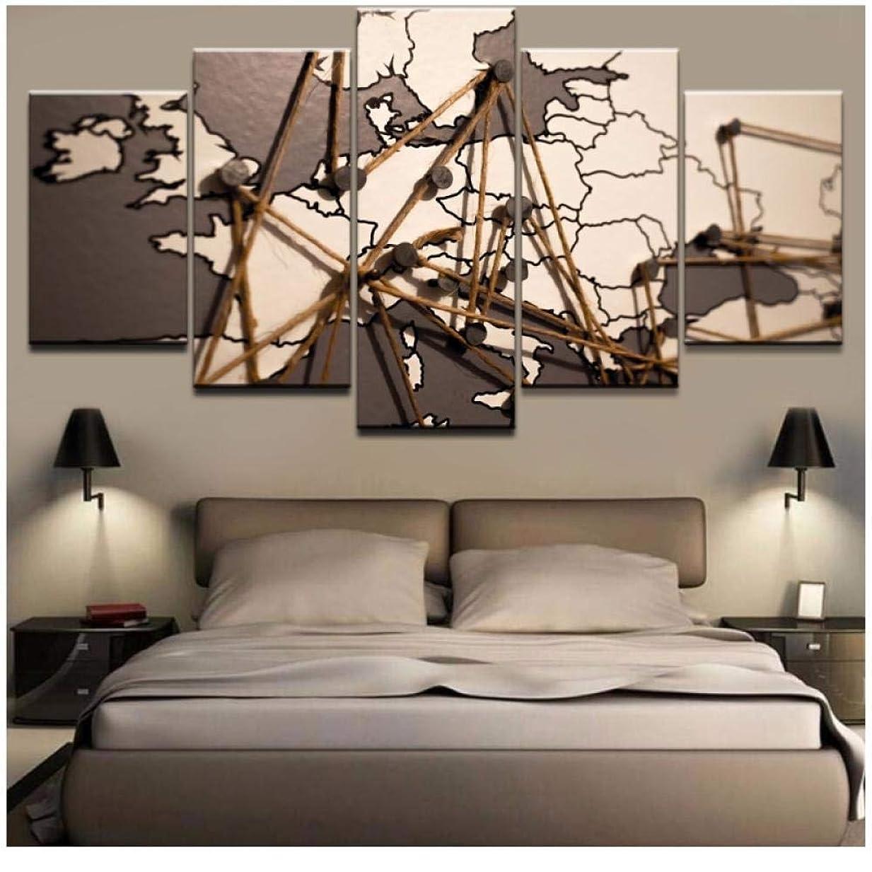 容量建てるオーバードローイグザカーポスターHDプリントモダンキャンバス5パネルビンテージマップリビングルーム写真家の装飾モジュラーCuadros絵画(フレームなし)30x40 30x60 30x80cm