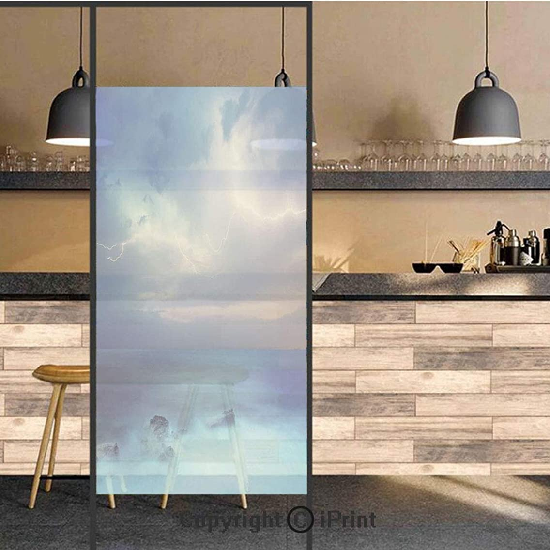3D Decorative Privacy Window Films,Rocks in the Tropical Ocean and Big Dense Flashes in the Air Forces of Nature Art,No-Glue Self Static Cling Glass film for Home Bedroom Bathroom Kitchen Office 24x71