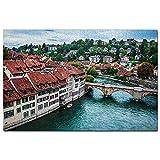 Suiza Berna Río Puzzle 1000 Piezas para Adultos Familia Rompecabezas Recuerdo Turismo Regalo
