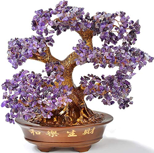 KALIFANO Natural Amethyst (1,251 Gemstone Count) Chakra Crystal Tree with Healing Properties - Bonsai Feng Shui Money Tree for Positive Energy, Luck and Wealth