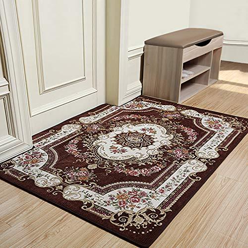 European Luxurious Door Mat, Anti Slip Absorbent Comfortable Soft Rug Living Room Bedroom Hallway Home Floor Mat -brown 60x90cm