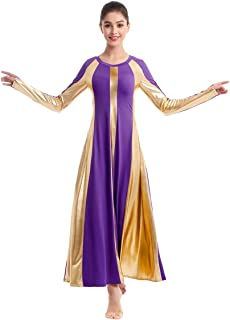 IBAKOM Womens Adult Metallic Gold Color Block Long Sleeve Praise Dance Dress Loose Fit Full Length Liturgical Lyrical Worship