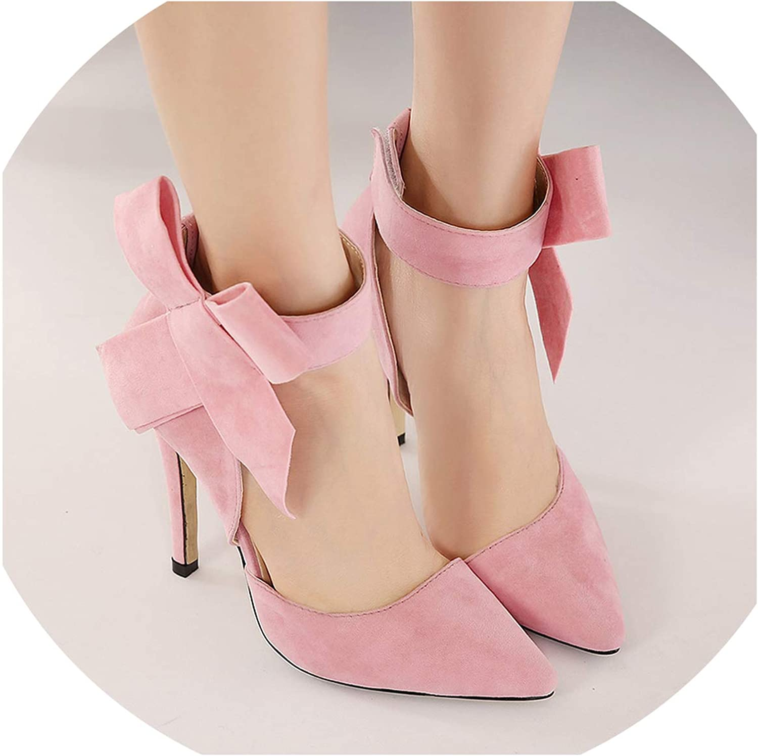 LAIGEDANZI Sexy Big Bow Pointed Toe high Heels Sandals shoes Ladies Wedding Party Pumps Dress shoes